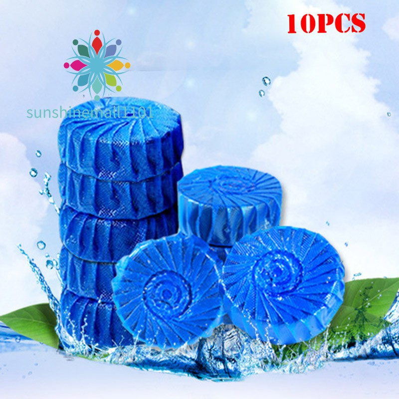 SM01 10pcs Toilet Bowl Cleaner Tablets Antibacterial Cleaning Tab Blue Bubble For Bathroom