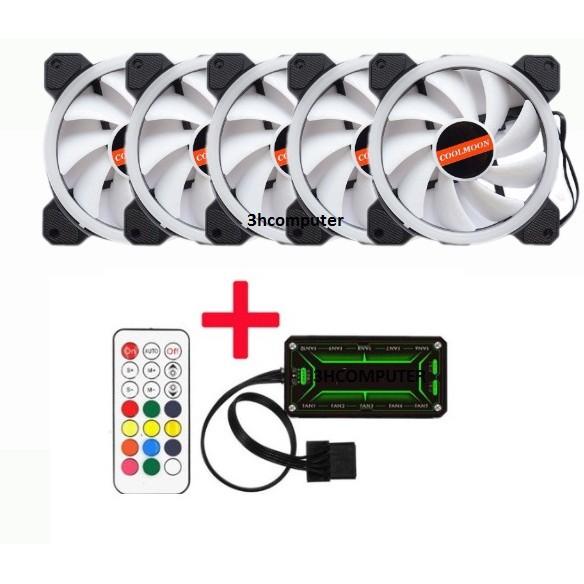 Bộ Quạt Tản Nhiệt 5 Fan Case Coolmoon  Led RGB Dual Ring - Kèm Bộ Hub Và Remote 2018 .