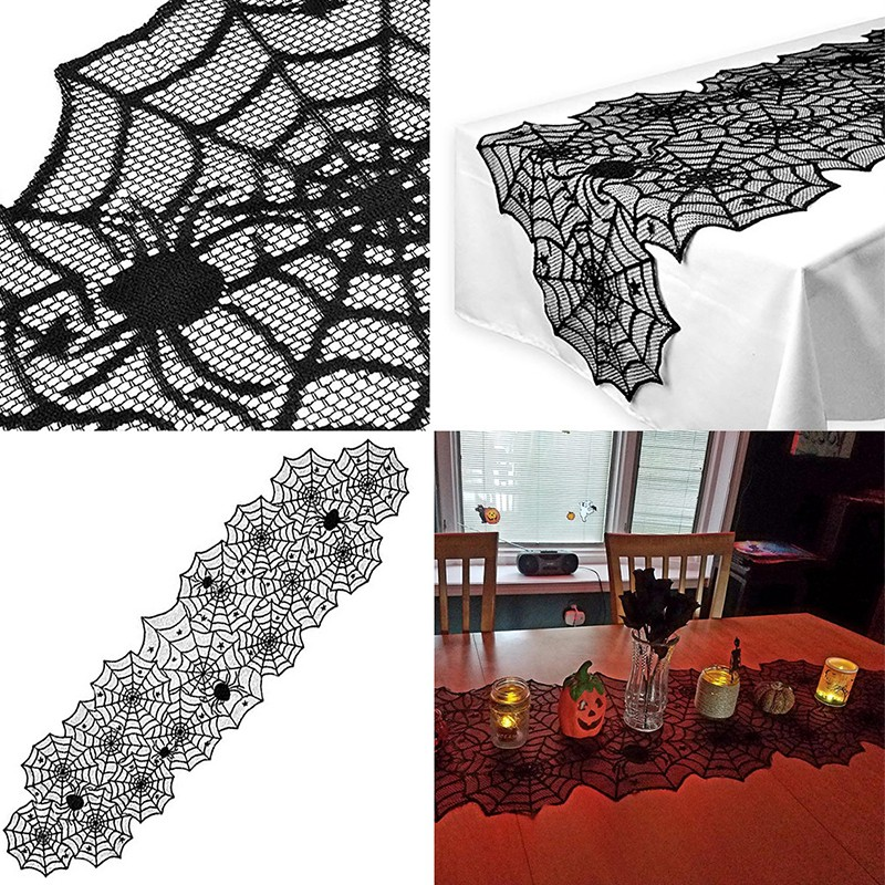 Halloween Knitted Lace Spider Web Tablecloth
