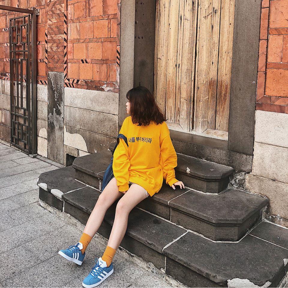Nhập WAPCK111 giảm 25k đơn từ 200k - Áo Sweater Hàn KOREAN VÀNG CHỮ XANH UNISEX / NEVA DIE VÀNG (form rộng Châu Âu)