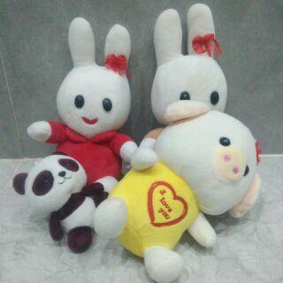 Gấu bông hình heo con, thỏ, gấu trúc mũ cho bé