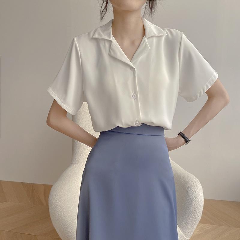 Mặc gì đẹp: Phong cách với Áo sơ mi nữ đẹp tay ngắn cổ vest form rộng, Áo kiểu nữ sơ mi trắng cộc tay công sở phong cách vintage Hàn Quốc - Maoshop