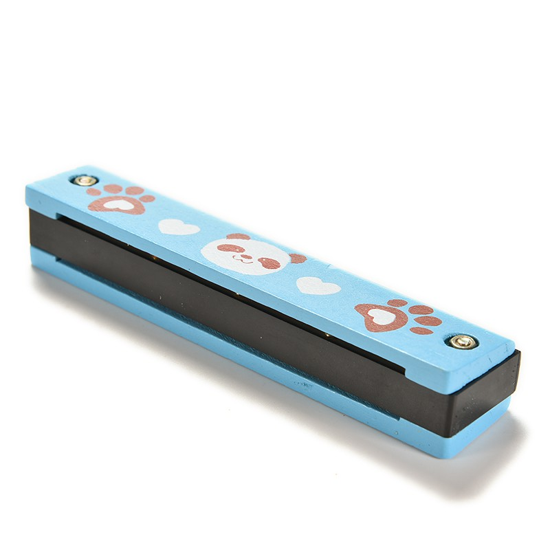 [HO&OFF] 1 X Wooden Painted Harmonica Kids Children Musical Instrument Gift Color Random