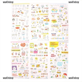 【wa47ebsy】6 Sheets Kawaii Pig Transparent Stickers Scrapbook Craft Stickers Ki