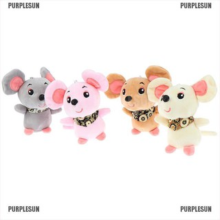 PURPLESUN 12cm Rat Year Baby Kids Cute Soft Plush Small Mouse Doll Hamster Toy KeyChain
