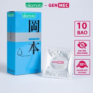 Bao cao su Okamoto Skinless Skin Lubricative Siêu Bôi Trơn – Hưng Phấn Đến Cùng – BCS Okamoto Hộp 10 cái – Genmec