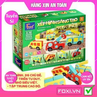 Xếp hình sáng tạo Foxi-Đồ chơi trẻ em-lắp ráp thông minh-tăng tư duy logic-tập trung cao độ-Trẻ học về màu sắc&hình khối thumbnail