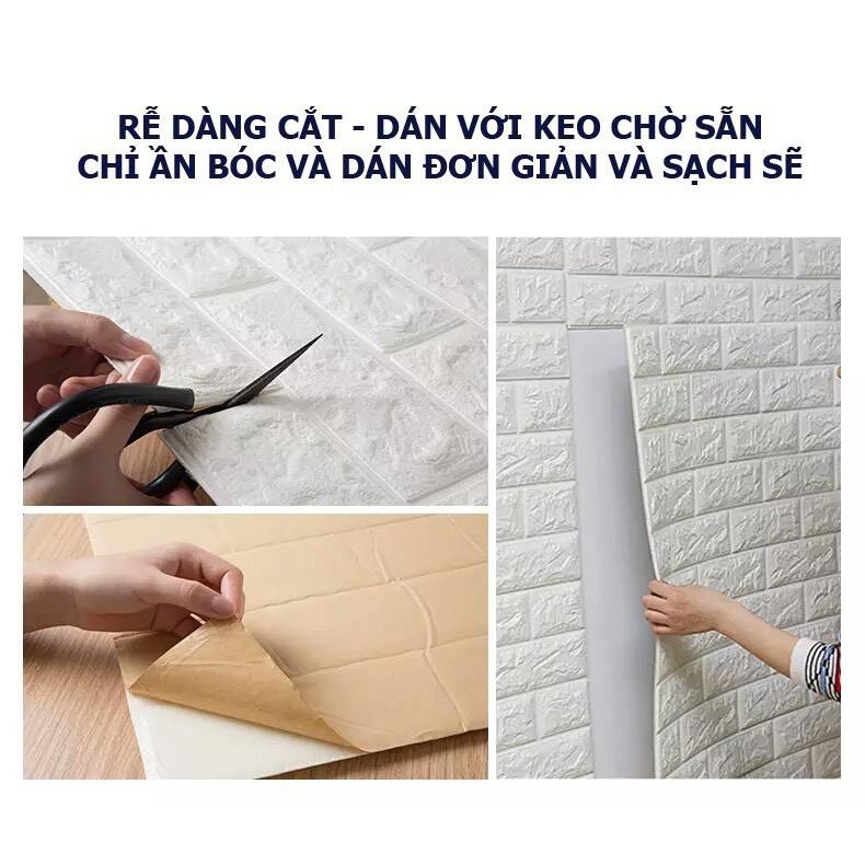 [COMBO 6] Xốp dán tường giả gạch 3D - Giấy dán tường cao cấp - Khổ lớn 70x77cm DG01