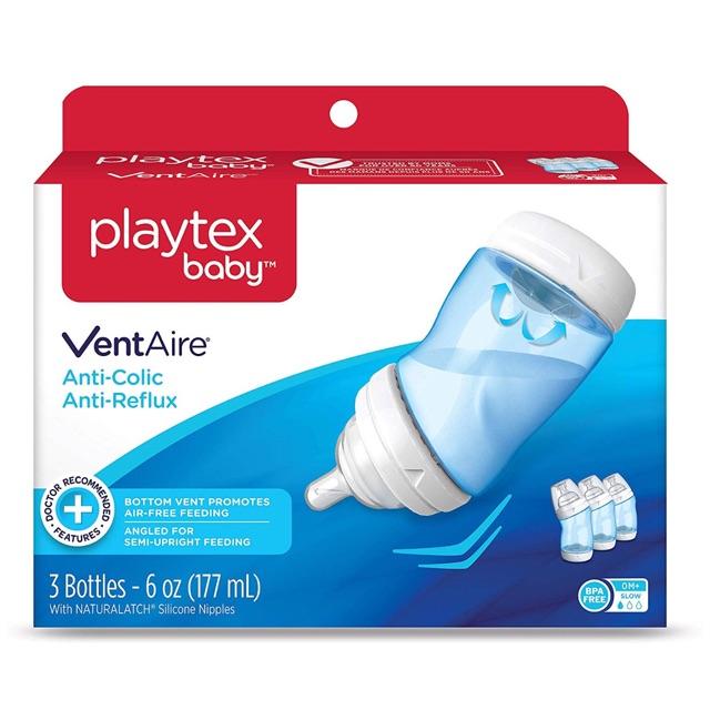 Bộ bình sữa PLAYTEX 177ml (3 bình) xanh - hồng - có tách bì