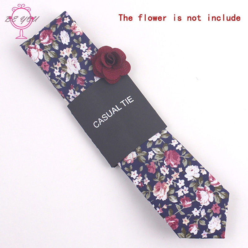 ♪BY Fashion Men Floral Print Tie Suit Skinny Ties Slim Cotton Neck Tie Necktie for Wedding Christmas Party