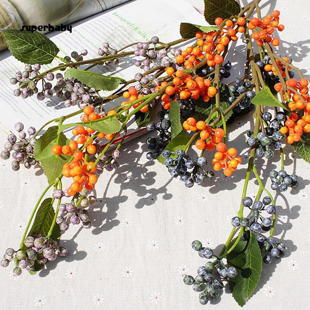 SBaby-1Pc Artificial Wild Berry Home Garden Flower Arrangement Office Bonsai Decor