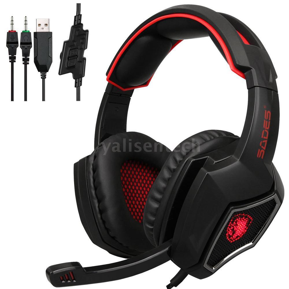 Bộ tai nghe chơi game Sades R9 có dây 3.5mm + micro & đèn LED cho PC