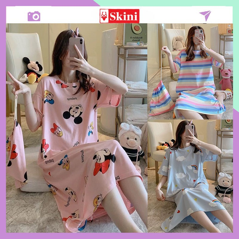 Váy Nữ ❤️FREESHIP❤️ Ngủ Cộc Tay sexy, Đầm Ngủ Suông Chất Cotton Mềm Mát Mặc Nhà Dễ Thương_VN33