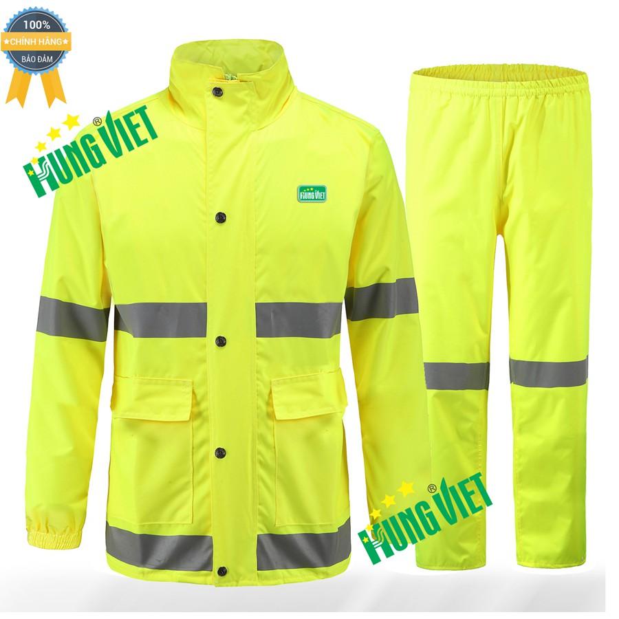 Bộ quần áo mưa PU phản quang 2 lớp cao cấp