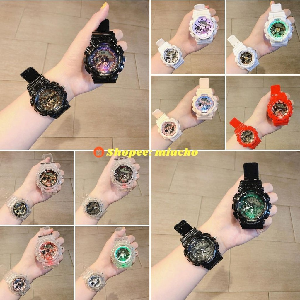 Đồng hồ nam nữ điện tử dành cho cặp đôi học sinh GA110 dây nhựa thể thao năng động DH43 Miucho