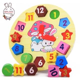 Đồng hồ số học và hình học bằng gỗ cho bé
