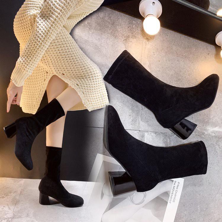 【จัดส่งฟรี】เกาหลีใหม่ของรองเท้าส้นสูงป่าหนากับรองเท้าตาข่ายสีแดงบาง ๆ รองเท้าสั้น