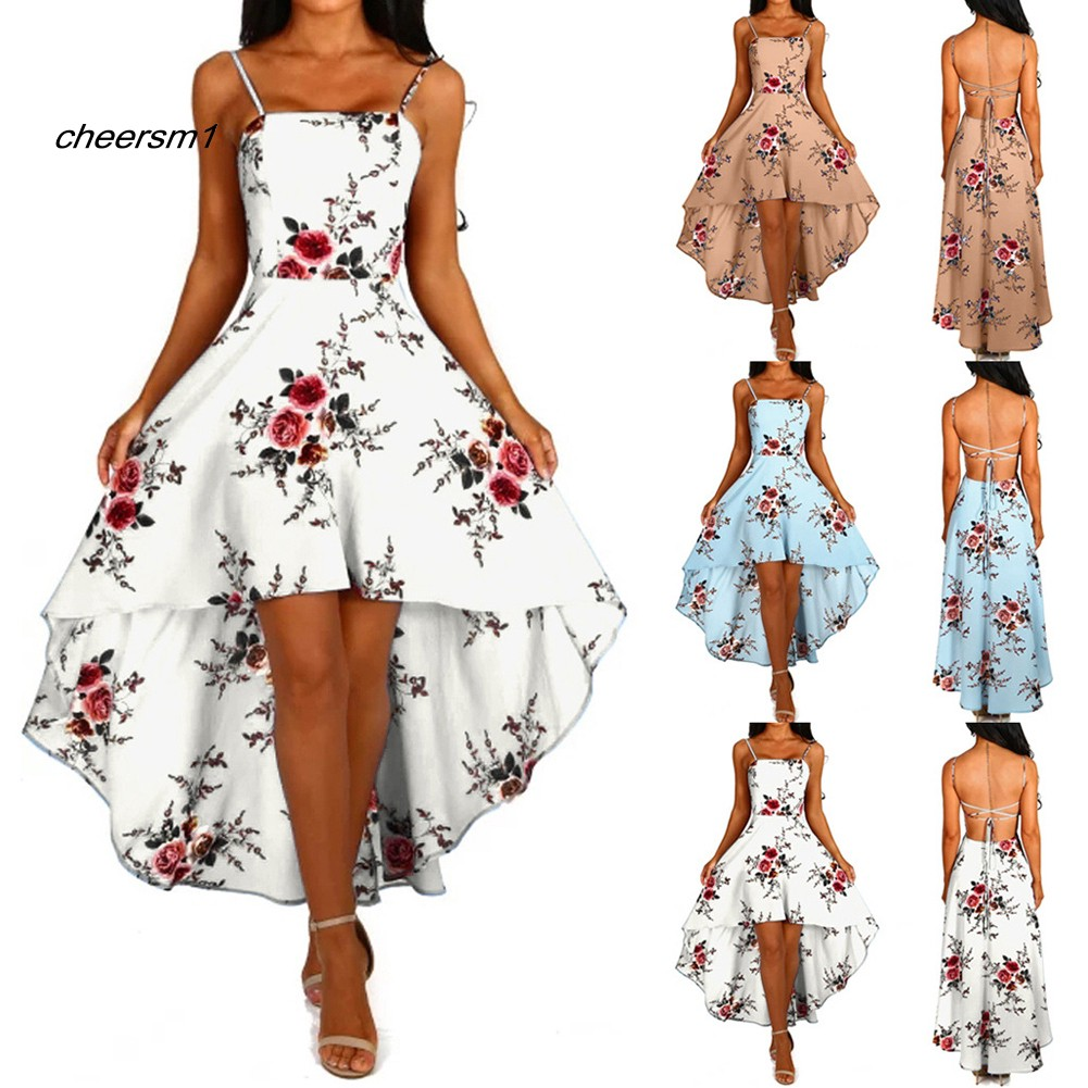 CHE♥Party Women Flower Print Front Short Back Long Sleeveless Backless Bandage Dress