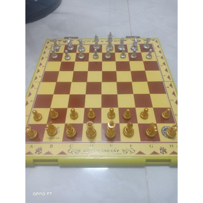 Bộ cờ vua loại lớn được Mod quân cờ vàng bạc có hít cao cấp( mô tả )