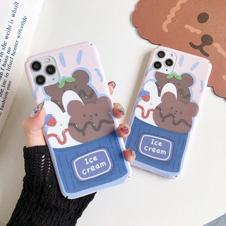 Ice Cream Bear Pattern Case for OPPO R9s A57 A59 F1s A73 A79 A83 A3 A5s A5 A7 A5s A9 Reno Reno2 A9 2020 A5 2020 PC Hard Phone Casing