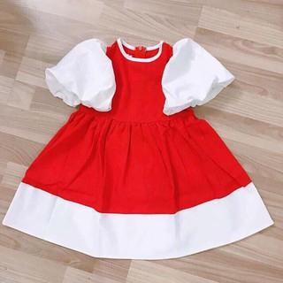 Váy đầm bé gái chất voan phối lụa hàn xịn xò kiểu tay phồng chân váy viền cho bé từ 10kg đến 22kg (màu đỏ, đen)