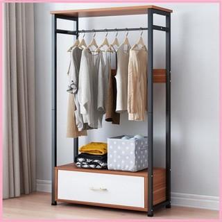 Tủ treo quần áo 60cm kệ gỗ khung thép – Tủ treo quần áo nhiều ngăn để đồ