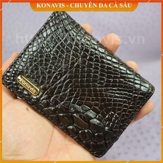 Ví card da cá sấu Konavis da thật gồm 2 ngăn đựng màu nâu sang trọng – CW07-02