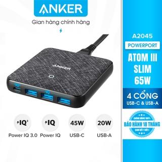 Sạc ANKER 4 cổng PowerPort Atom III Slim 65w PIQ 3.0&GaN - A2045 thumbnail