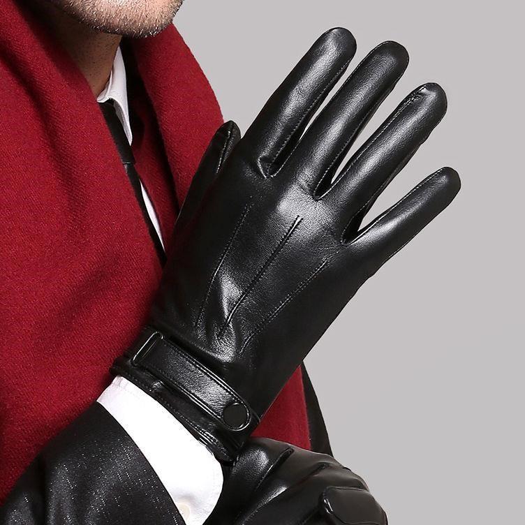 Găng tay da nam lót nỉ siêu ấm