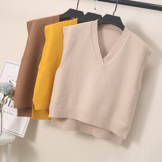 The new version of the spring and autumn 2020 version of the waistcoat is a loose sweater, a short sweater, and a should