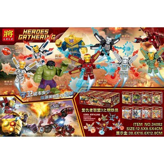Đồ chơi lắp ráp lego super heroes Hulk, Thanos, iron man Lele 34082 trọn bộ 8 hộp như hình.