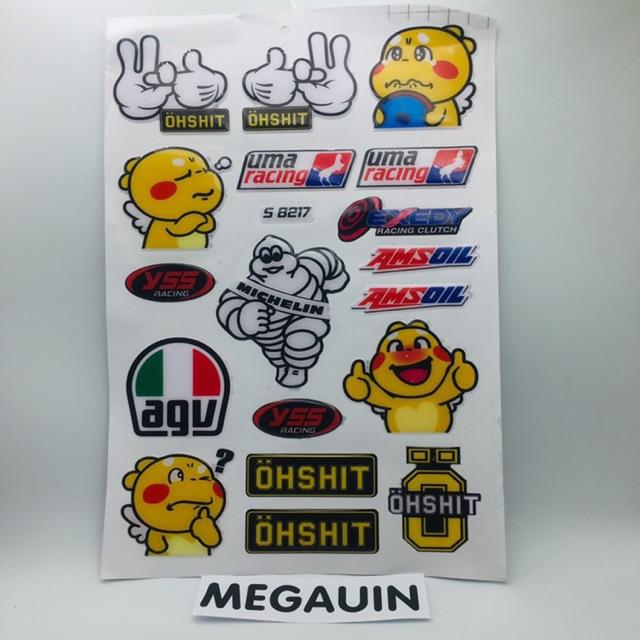 Tem Sticker đề can Uma Racing chống nước , decal trang trí xe - giá cả bảng (S 8217)