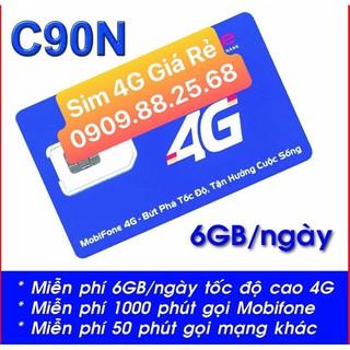 Sim 4g 💖𝑭𝑹𝑬𝑬𝑺𝑯𝑰𝑷💖 Sim Mobifone C90N 4gb 1 ngày