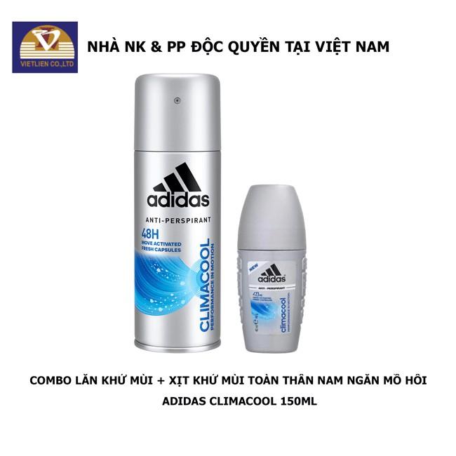 COMBO Xịt Khử Mùi + Lăn Khử Mùi Toàn Thân Nam Ngăn Mồ Hôi Adidas Climacool