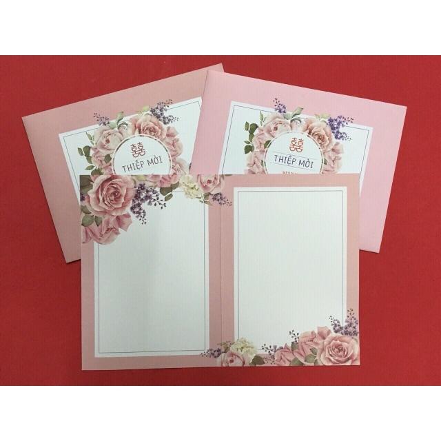 Combo 100 thiệp cưới hồng có phong bì