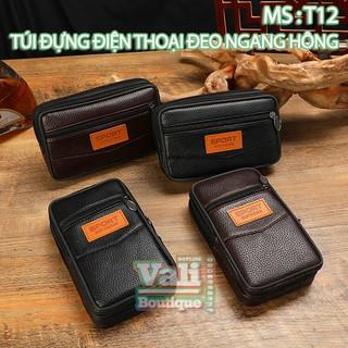 Túi đựng điện thoại đeo ngang hông da bò T12 3 dây kéo kiểu dọc, kiểu ngang – đen, nâu.