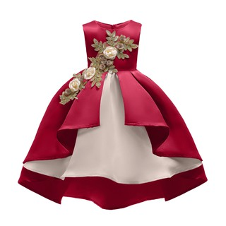 Váy đầm công chúa cho bé gái 3 đến 9 tuổi Váy dạ hội dự tiệc đính hoa hồng màu đỏ