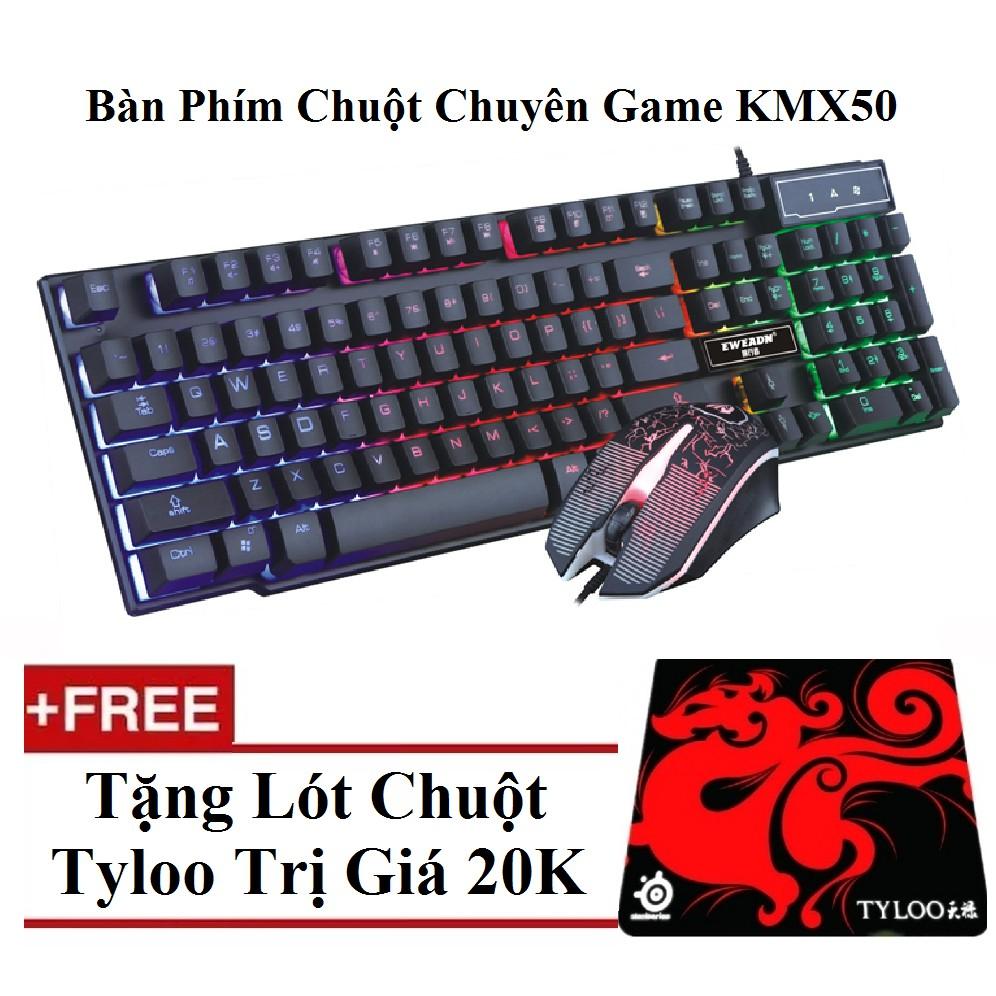 ?Free Ship? Bộ bàn phím giả cơ và chuột chuyên game Eweadn KMX-50 Led 7 màu + Tặng Lót tyloo