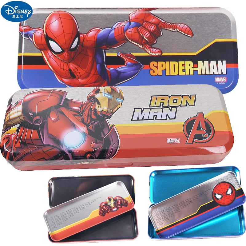 ✵℡Disney Iron and Steel man American captain Stationery box children pen Boys double horse mouth