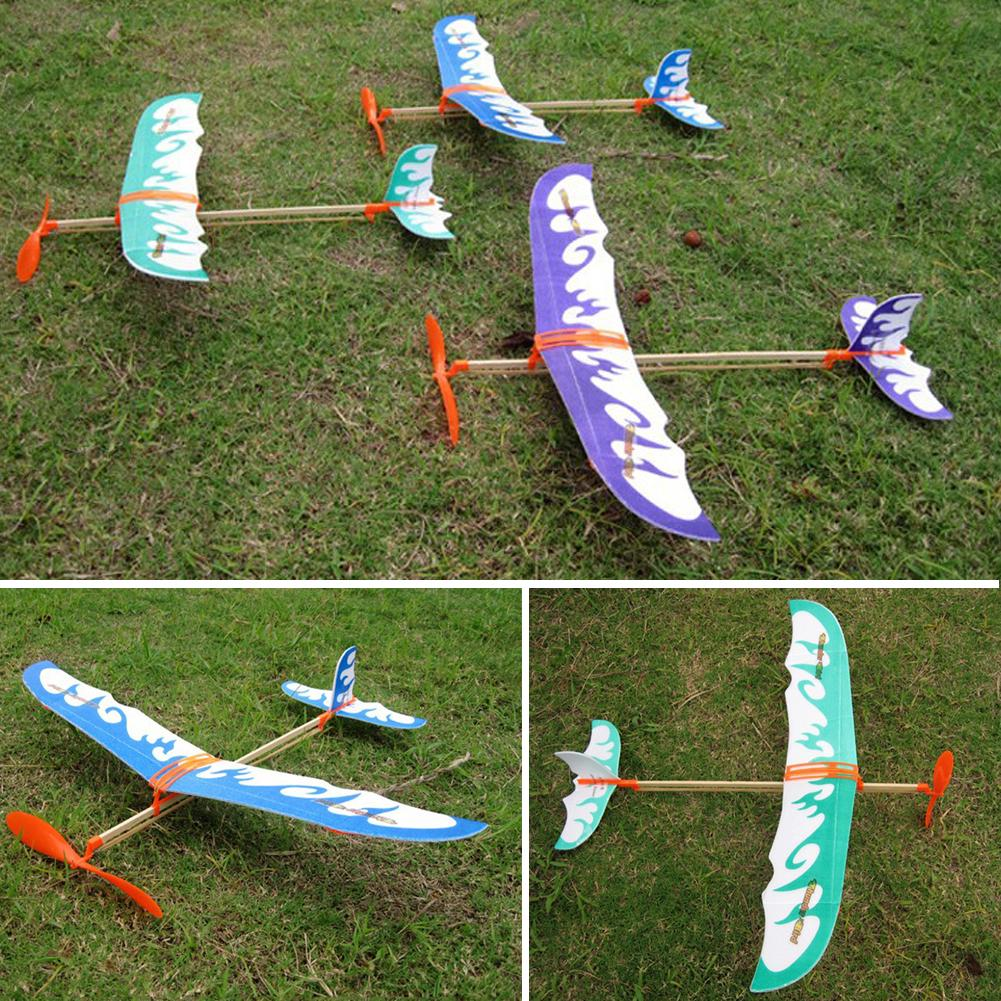 Creative Kids Fun Toy Rubber Band Elastic Powered Flying Plane Airplane Model