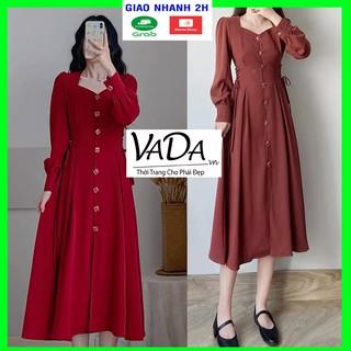 Đầm maxi tay dài cổ cách điệu cao cấp phù hợp đi chơi, đi tiệc cưới, đi dao phố cà phê - Thời trang VADA - V20 thumbnail