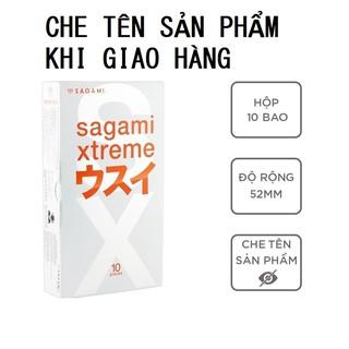 Bao cao su Sagami Superthin bcs siêu mỏng nhiều gel bôi trơn không mùi 1 hộp 10c có che tên sản phẩm - thegioisoi thumbnail