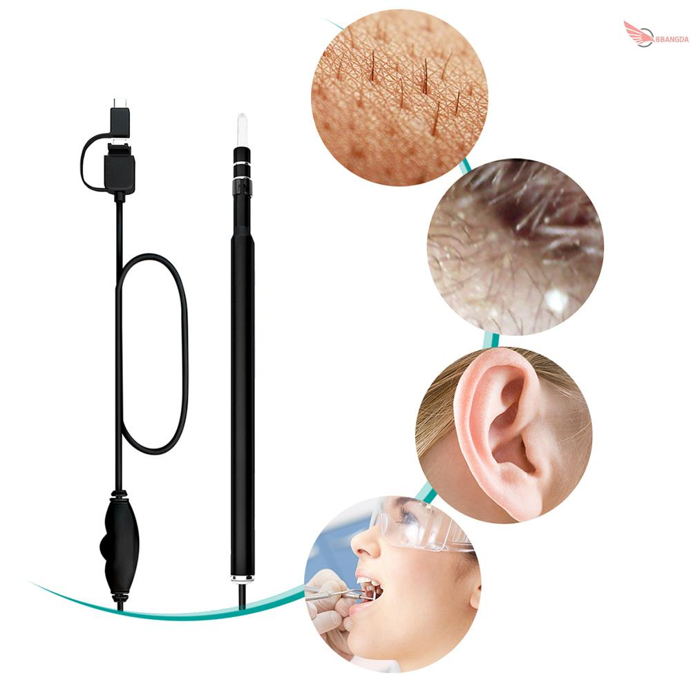 NEW 3-in-1 USB Ear Cleaning Earpick Endoscope LED Light Multifunctional Borescope Inspection Camera 0.3MP Visual Ear Spoon Health Care Cleaning...