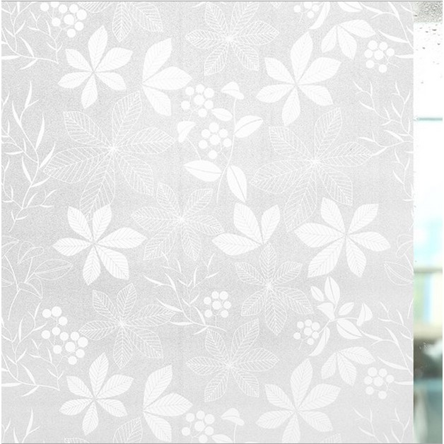 5M Giấy Dán Kính hoa trắng không cần keo - khổ 0.45m - DK046