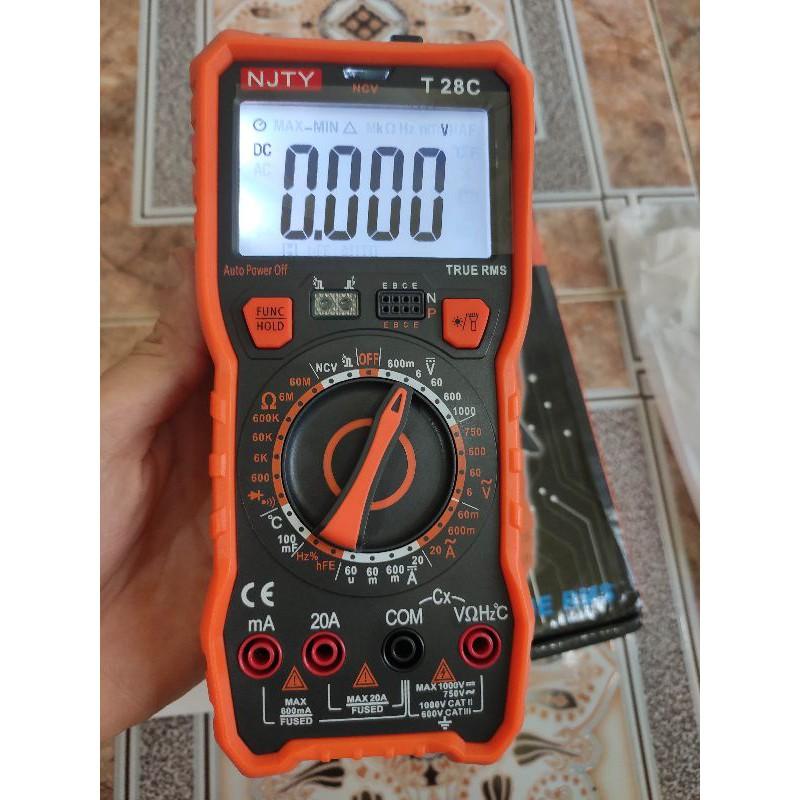 Đồng hồ vạn năng kỹ thuật số NJTY T28C cao cấp phát hiện hồng ngoại, đo tụ 100mF, dòng 20A