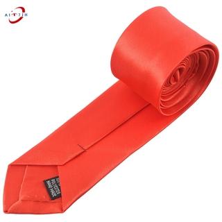 Red Self Tie Style Polyester Necktie Neckwear for Men