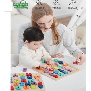 Bộ đồ chơi nhận biết chữ và số AAG , đồ chơi trí tuệ bằng gỗ chính hãng AAG