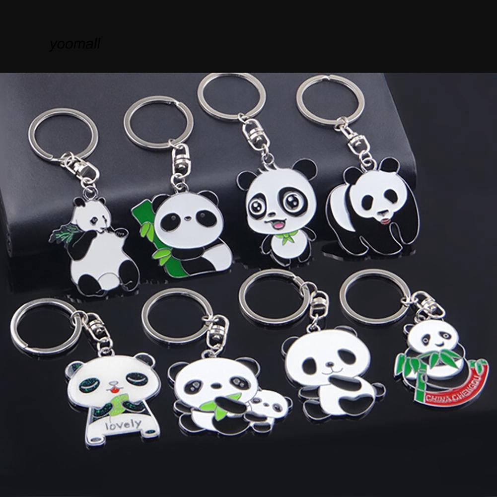 YOML✔Fashion Lovely Panda Metal Keyring Keychain Car Key Holder Bag Pendant Gift