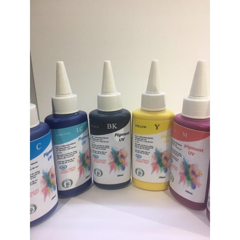Mực Dầu Pigment UV bộ 6 màu 600ml cho máy in epson