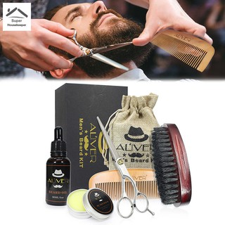 Men Beard Care Grooming Trimming Kit Unscented Beard Conditioner Oil Mustache for Shaping Growth